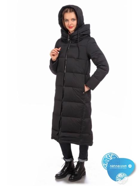 Пуховик-пальто из ткани стретч